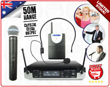 Cordless UHF Microphones Pack 50M Range Wireless Mic + Headset Bodypack NEW GLXD