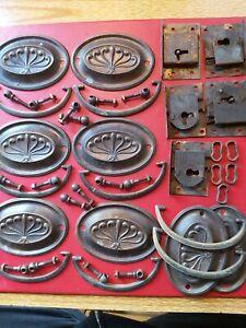 Victorian Original Locks Handles Key Guards Vintage Hardware Fir Chest If Draws