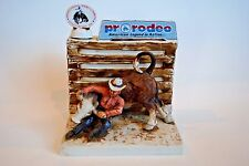 Rare Vintage Hoffman Steer Wrestling Whiskey Decanter Pro Rodeo PRCA Cowboy