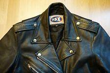 OSX Vintage Leather Motorcycle Biker Jacket Black - Size UK 12 EU 40 US 8