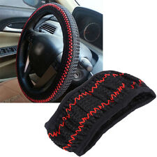 Ice Silk Universal DIY Car Steering Wheel Cover Protector Case Elastic Black New