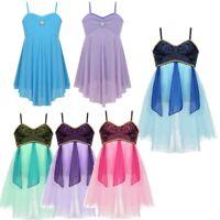 Children Girls Lyrical Ballet Dance Costume Straps Tutu Dress Rainbow Dancewear