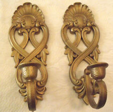 Celtic Knot Like Shell Crest Candle Wall Sconce Syroco Gold Chic 4x11.5 Vtg Pr
