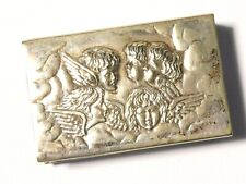More details for antique silver plated matchbox holder with cherubs / angels depiction cr & co.