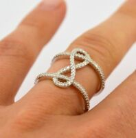 Trendy 925 Silver White Topaz Infinity Ring Women Anniversary Jewelry Size 6-10