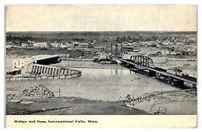 Early 1900s Bridge and Dam, International Falls, MN Postcard