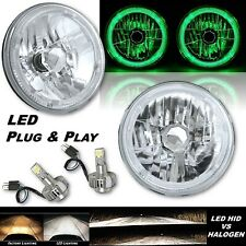 "7"" Green LED Halo Angel Eye 12V Headlight Headlamp w/ 6k LED H4 Light Bulbs Pair"