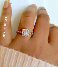Lab-Created Engagement Halo Fine Rings