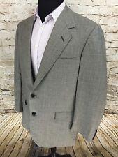 Oxxford Clothes 2 Button 100% Wool Gray Glen Plaid Sport Coat Mens Sz 44 Tall