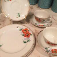 Vintage Merit Occupied Japan China Orange Floral Seven Pieces