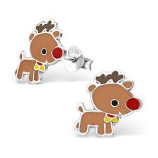 925 Sterling Silver Baby Rudolph Reindeer Christmas Kids Girls Stud Earring