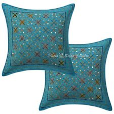 "Indian 16"" Sequins Gold Zari Embroidered Pillow Case Covers Cotton Cushion Cover"