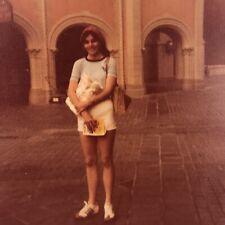 Vintage Color Photo Teen Girl Standing Courtyard Headband Winner Shoes Sneakers