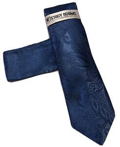 STACY ADAMS SOLID BLUE COLOR PAISLEY PRINT SILK DESIGNS NECKTIE HANKIE SET #14