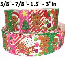 "Grosgrain Ribbon 5/8"", 7/8"", 1.5"" , 3"" Christmas Gingerbread Men House Printed"