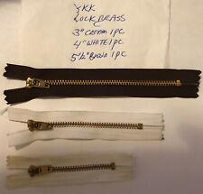 "YKK Yellow Brass Lock Close End 3"" Cream,4""White,51/2""Brown Zipper"