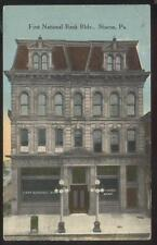 POSTCARD SHARON PA/PENNSYLVANIA 1ST NATIONAL BANK & BUSINESS STORE FRONT 1907