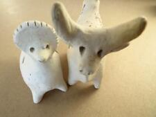 2pc Vintage Russian Folk Art White Clay Toys Whimsical Whistles Figurines