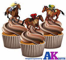 Horse Racing Themed - 12 Fun Fully Edible Birthday Cup Cake Toppers Decorations