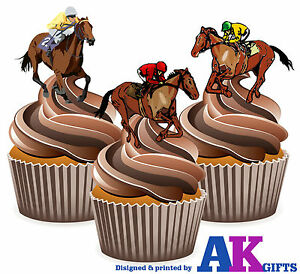 PRECUT Horse Racing Themed 12 Edible Cupcake Toppers Cake Decoration Birthday