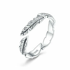 European Women S925 Sterling Silver The Feather Wedding Finger Ring Adjustable
