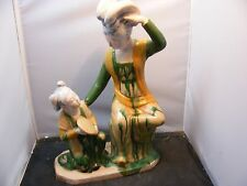 Vintage Chinese Tang Dynasty style Majolica Sancai Drip Glaze statues figures