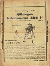 Werbung 1936, Mäh-Messer Schleif-Maschine Ideal S Sandstein Land-Maschinen