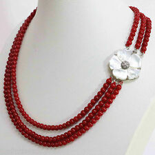 3 row 6mm Red coral round beads necklace 18-20''