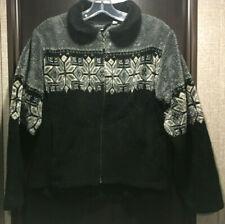 Black Diamond Womens Fleece Jacket Snowflake Black Gray Full Zip Sz M - USA