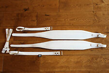 NEW Deluxe Italian Accordion Straps 306a White Leather velvet padding BackStrap