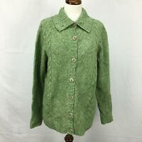 Used LL Bean Green Wool Blend Button Up Cardigan Sweater Womens Sz XL Reg