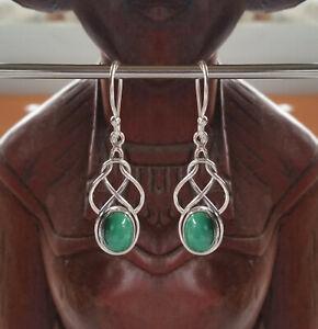 291 Malachite Solid 925 Sterling Silver Celtic Knot Gemstone Earrings rrp$69.95