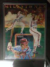 1981 Milestones Print signed by Mike Schmidt, Steve Carlton and Pete Rose Framed