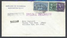 US 1946 Prexie Special Delivery Nicaragua Embassy DC NY Registered Cover