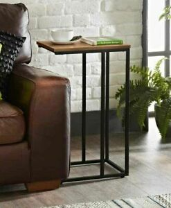 Sofa Side Table for Coffee Laptop Black Metal Base With Wooden Top study top