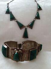 Vintage JFG Sterling Silver Jade Necklace & Bracelet Set