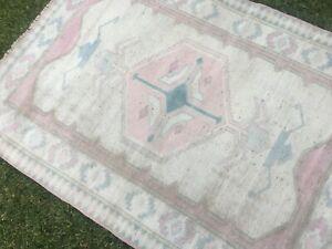 4'1''x5'5'' Vintage Turkish Rug,Area Rug,Modern Oushak Rug,Antique Ushak Carpet