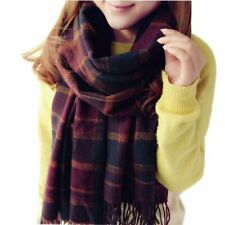 Women's Winter Warm Checked Plaid Shawl Scarves Solid Plaid Cashmere blend