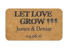 65 MINI LET LOVE GROW PERSONALISED WEDDING FAVOUR STICKERS KRAFT FINISH