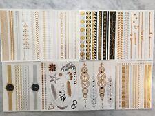 100 SHEETS LOT BULK TEMPORARY TATTOOS METALLIC GOLD SILVER JEWELRY FLASH *USA