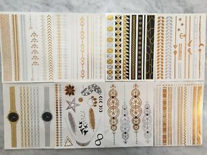 100 SHEETS LOT BULK TEMPORARY TATTOOS METALLIC GOLD SILVER JEWELRY FLASH *USA