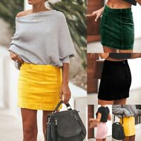 Women Ladies Sexy Slim Hip Wrap Short Skirt Casual Faux Suede Elegant Skirt