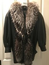 Genuine Huge Silver Fox Fur Collar Leather Jacket With Fur Lining Black Large