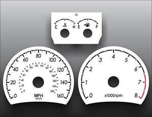 White Face Gauge Kit Fits 2007-2008 Hyundai Tiburon Dash Instrument Cluster