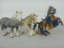 Lot 3 Schleich Horses 2003 2006 Rearing Medieval Elven Gray Percheron Stallion