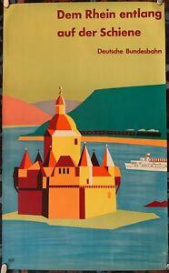 Along The Rhine German Federal Railroad Original German Travel Poster 1957