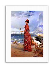 SEASCAPE DUPAIN ELEGANT LADY GREYHOUNDS BEACH Painting Canvas art Prints