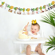 DIY Jungle Animals Banner Paper Photo Frame Rope Clip Kids Birthday Party Decor