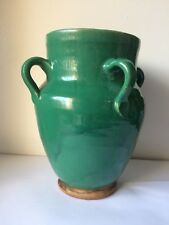 Antique Islamic Middle Eastern Green Pottery Vase With Four Handles