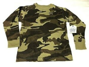 Faded Glory LS Boys Camo T - Shirt Crew Neck - You Pick - Hunting Casual NEW
